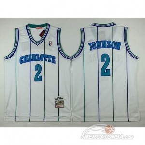 Canotte Retro Johnson Charlotte,New Orleans Hornets Bianco
