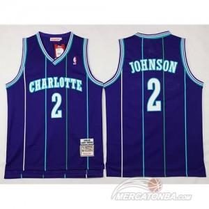 Canotte Retro Charlotte Johnson,New Orleans Hornets Porpora