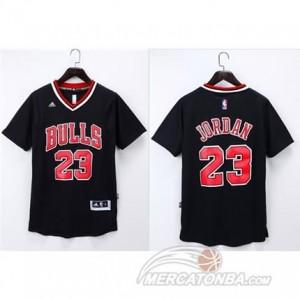 Canotte NBA Manga Corta Bull Jordan Nero