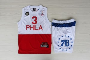 Pantaloni Philadelphia 76ers Bianco to Rosso