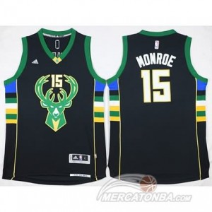 Canotte Monroe,Milwaukee Bucks Nero