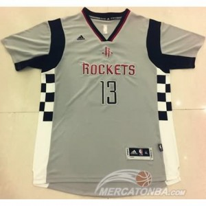 Canotte NBA Manga Corta Rockets Harden Grigio